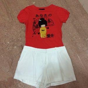 Zara Basic Collection Red Orange oriental tee